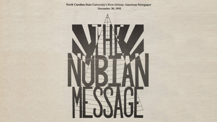 The cover of the first issue of NC State's Nubian Message.