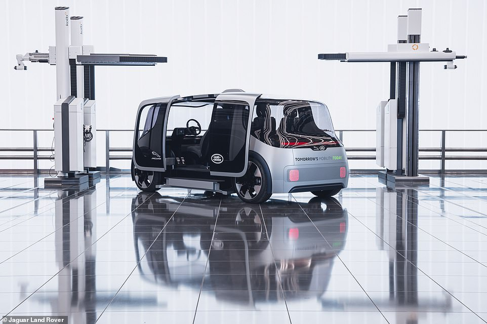 JLR bosses said:'The revolutionary interior cabin space allows seating configurations for private, or shared use and even the opportunity for commercial applications, such as last mile deliveries'