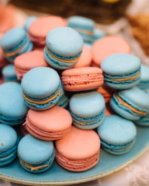 Colourful tasty macaroons on the table