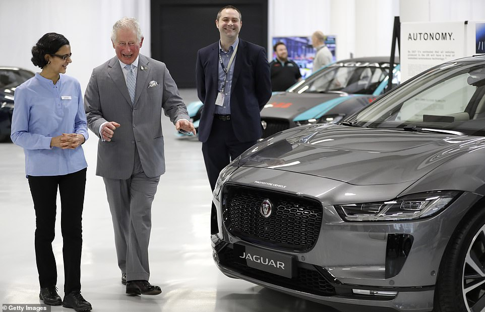 The event showcases vehicles of the future, and of the present - like the Jaguar I-Pace electric car, pictured
