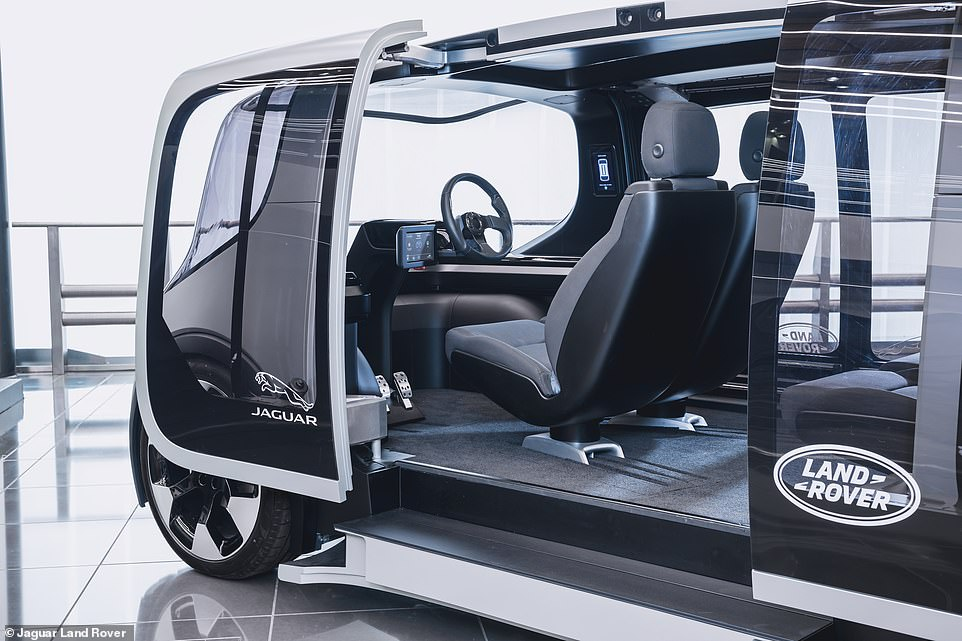 The vehicle features sliding glass doors for easy access to the pod and has a flexible interior to sittwo to five passengers at once