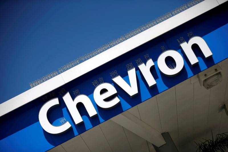 © Reuters. FILE PHOTO: Dow Jones Industrial Average listed company Chevron (CVX)'s logo is seen in Los Angeles