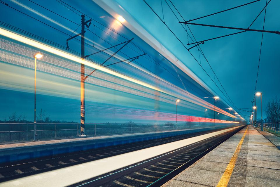 Light trail of the train