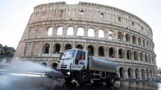 Disinfection operations on the streets of Rome, Italy, 24 March 2020
