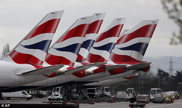 Grounded:The share prices of British Airways-owner IAG and budget carriers Easyjet, Ryanair and Wizz Air, have all roughly halved in value since the market began to dive in late February