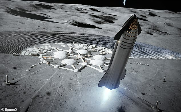 A rendering in SpaceX's user manual for Starship shows the craft taking off from what appears to be some kind of colony or base on the moon