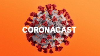 An illustration of a cell on an orange background with the word 'coronacast' overlayed.