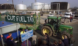 Farmers with a tractor blockade the Stanlow oil refinery in 2000