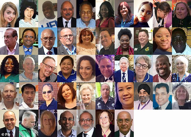 Doctors and nurses from a black, Asian or minority ethnic (BAME) background have been disproportionately affected by coronavirus. Pictured are those that have died from the virus. NHS England has asked trusts to