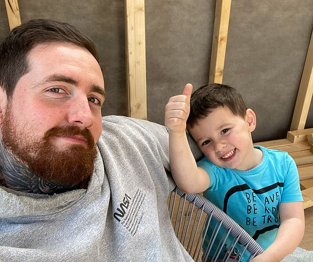 Pleading: Adam Siddle – with his son George – has £6,000 trapped in his account, which was closed suddenly with no warning