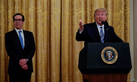 Donald Trump speaks about the Paycheck Protection Program. The US president met with oil and gas representatives seeking government help in April.