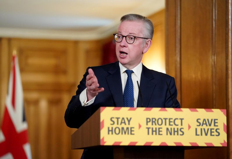 © Reuters. Daily COVID-19 News Conference in London