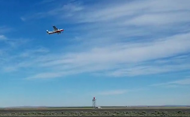 For the flight test over Moses Lake in Washington State, the electric plane took off and climbed to 2,500 ft before cruising around over the facility.