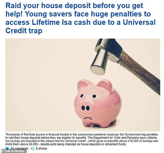 We raised the issue of the Lifetime Isa penalty and the fact savings are factored into Universal Credit calculations on Monday. The Treasury didn't respond to us, but has now changed tack