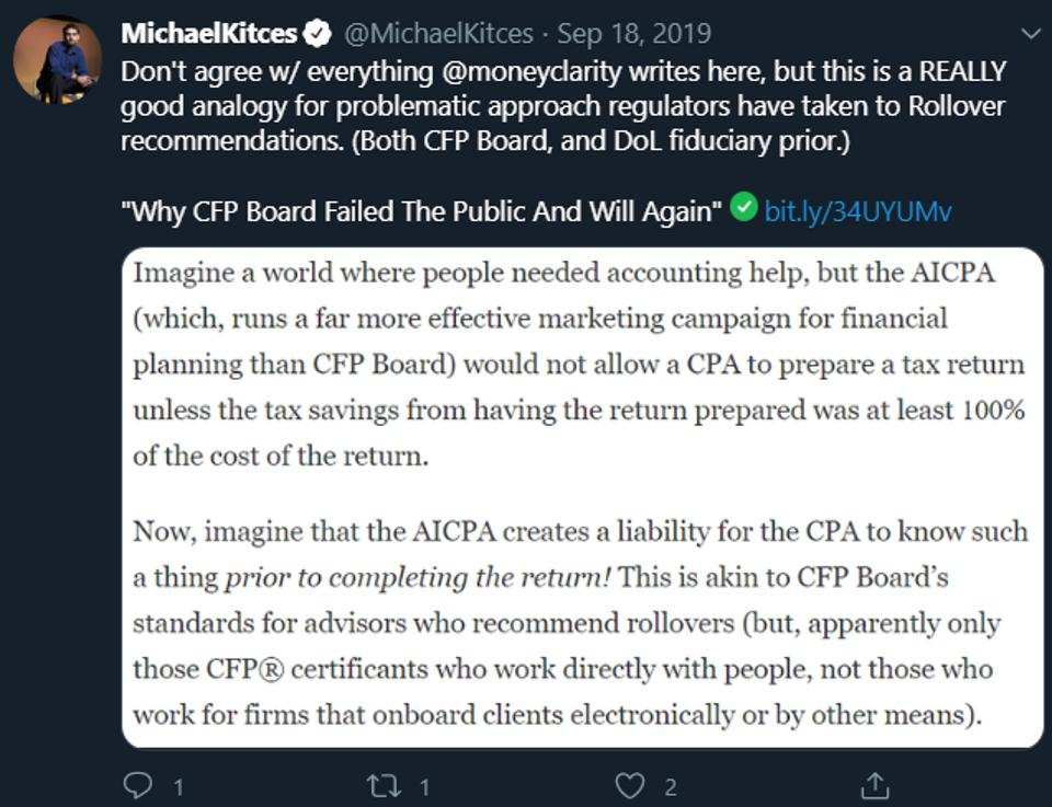 Michael Kitces CFP Board fiduciary failed public