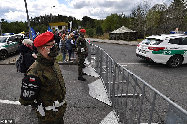 Polish military police and border guards patrol a protest at the Polish-German border in Lubieszyn last Friday