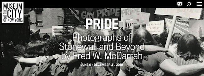 """Screenshot of the Museum webpage for """"Pride: Photographs of Stonewall and Beyond by Fred W. McDarrah"""" - Museum logo in upper right, text in the center over the lead image."""