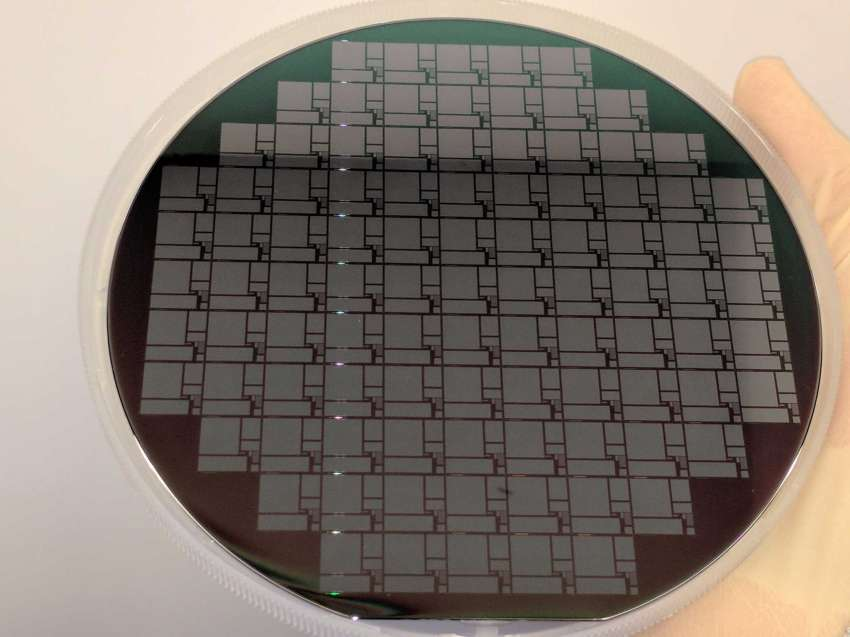 The first patterned silicon carbide wafer made by at SUNY Poly in Albany by the Power Electronic Manufacturing Consortium