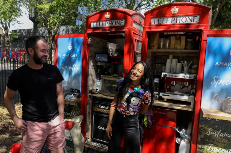 © Reuters. Converted telephone box operates as a take-way coffee shop