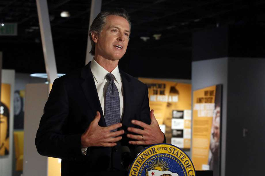 """Gov. Gavin Newsom announced that he has ordered the state police training program to stop teaching a neck hold that blocks the flow of blood to the brain, during a news conference in Sacramento, Calif., Friday, June 5, 2020. Speaking from the Unity Center at the California Museum, Newsom said he ordered the state Commission on Peace Officer Standards and Training to stop teaching officers how to use the """"carotid holds,"""" following nearly two weeks of protests across the country after the death of George Floyd. Photo: Rich Pedroncelli, AP / Copyright 2020 The Associated Press. All rights reserved"""