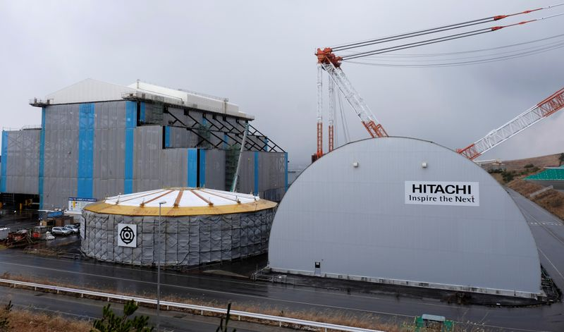 © Reuters. FILE PHOTO: Hitachi logos are seen on Electric Power Development Co. Oma Nuclear Power Station under construction in Oma town