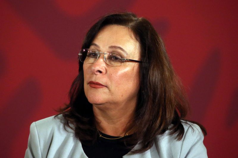 © Reuters. Mexico's Energy Minister Rocio Nahle  attends a news conference at the National Palace in Mexico City