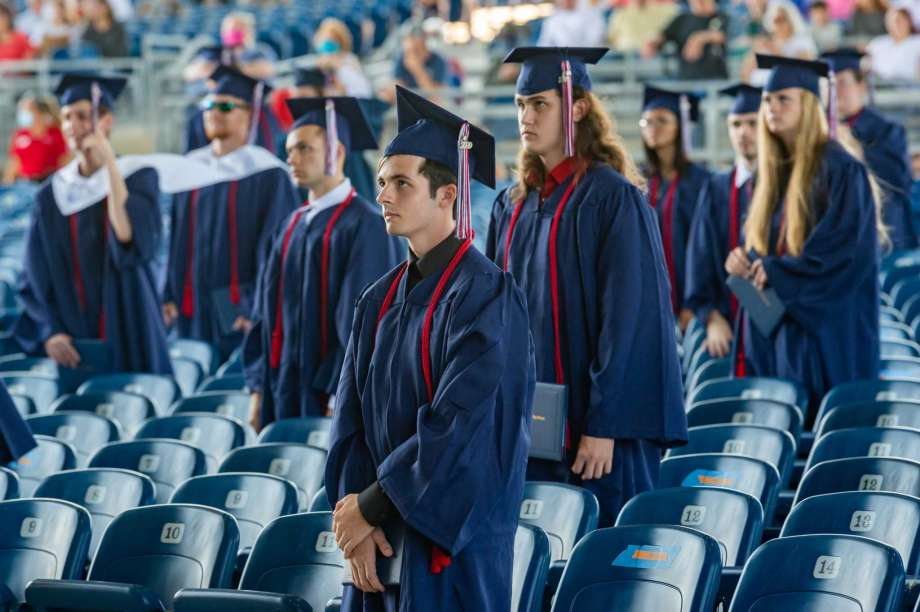 With the movement of the tassels from right to left, the senior class of Hardin-Jefferson High School officially graduate at the Ford Park Pavilion on Saturday morning to conclude their commencement. Photo made on June 6, 2020.  Fran Ruchalski/The Enterprise Photo: Fran Ruchalski, The Enterprise / The Enterprise / © 2020 The Beaumont Enterprise
