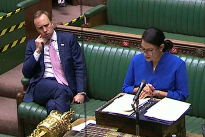 In the House of Commons in London on June 3, Priti Patel (right) said: 'Our priority has always been to protect people's health'