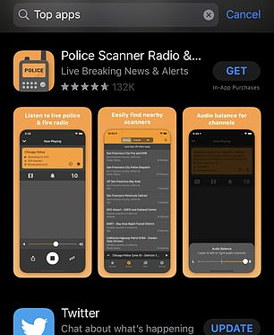 The Police Scanner app was downloaded 19,000 times on Friday, then another 24,000 times on Saturday and more than 35,700 downloads occurred on Sunday