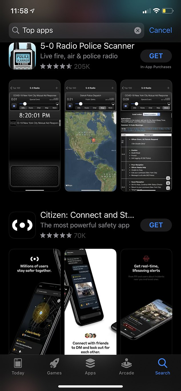The live broadcast on 5-0 Radio is uploaded by other users who record the chatter from a radio scanner and upload the files to a computer, which can be shared in the app.Citizen, which is a community safety app for real-time alerts and live video, also saw an increase in downloads the past weekend