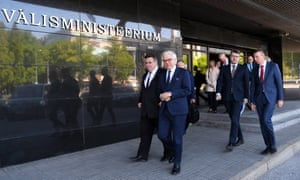 The foreign ministers of Lithuania, Poland, Estonia and Latvia arrive a four-way meeting in Tallinn, Estonia, 2 June 2020.