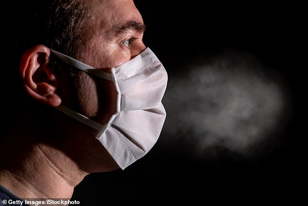 Scientists in the UK found that both small and large droplets from people coughing or just breathing can travel far distances and unpredictable directions, suggesting the airborne danger of coronavirus - but they invented a device to 'extract' tiny infectious particles not stopped by masks from the air (file)