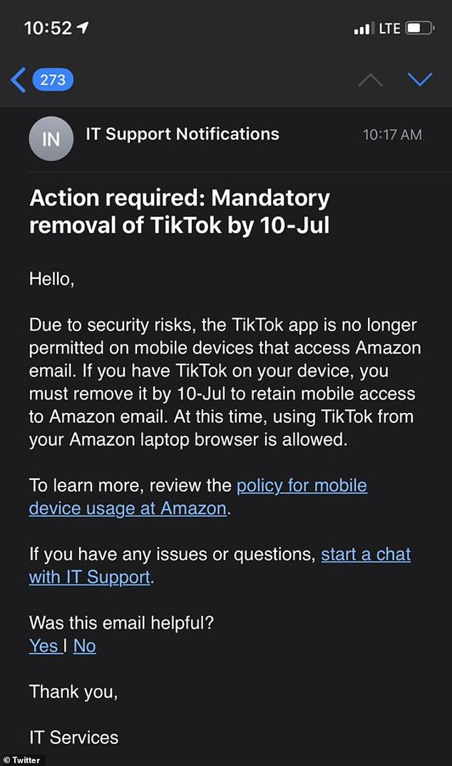 A memo surfaced online that requested 'all staff' remove the app from mobile devices with access to Amazon emails by July 10. An Amazon spokesperson later revealed that the memo was 'sent in error'