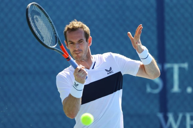 Andy Murray of Union Jacks in action during his men's doubles match with doubles partner Lloyd Glasspool against Dom Inglot and Alex Gray of British Bulldogs during day four of the St. James's Place Battle Of The Brits Team Tennis at National Tennis Centre on July 30, 2020 in London, England.