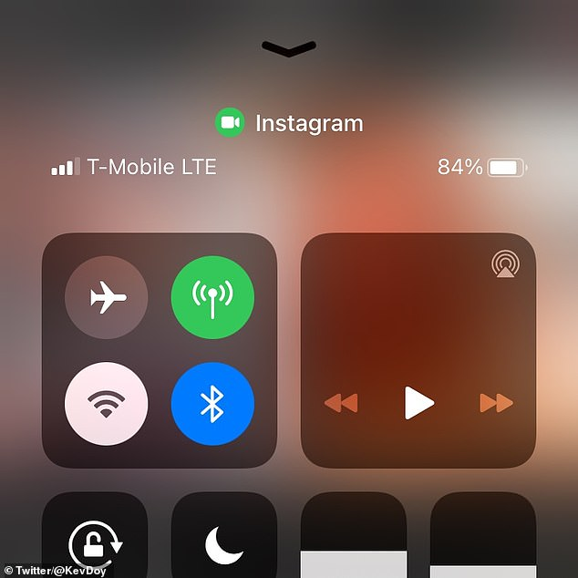 Apple's iOS 14 update shows a green icon on the control panel of an iPhone or iPad screen when an app attempts to infiltrate the camera in the background. A user shared a screen shot of the notification on the control panel after scrolling through their Instagram feed