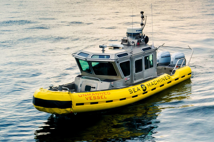 Unmanned ship built by Sea Machines.