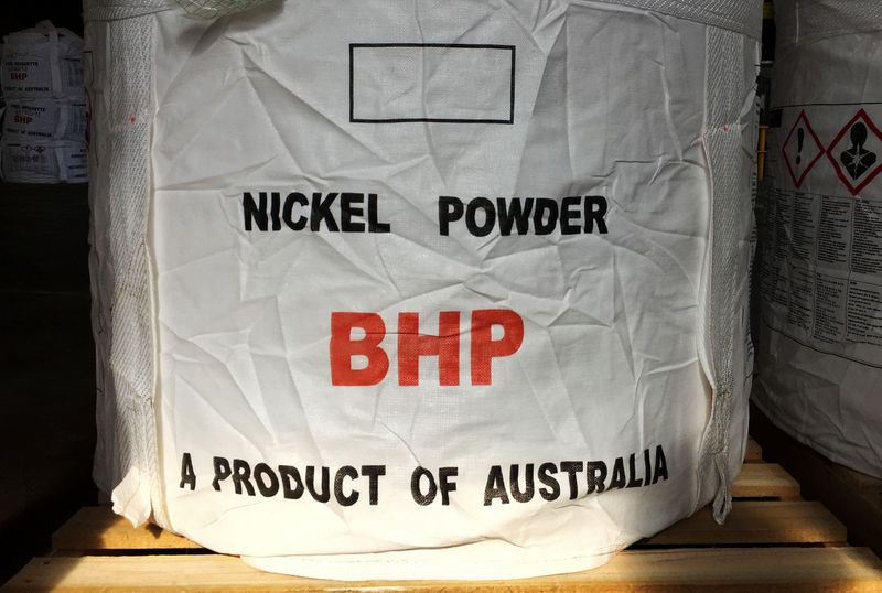 © Reuters. A tonne of nickel powder made by BHP Group sits in a warehouse at its Nickel West division, south of Perth