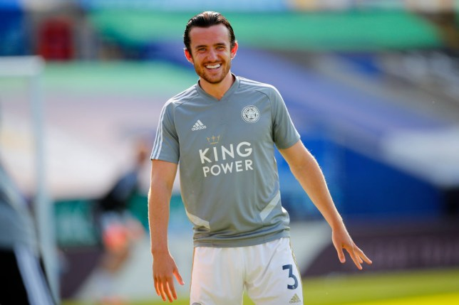 Ben Chilwell of Leicester City looks on before the Premier League match between Leicester City and Brighton & Hove Albion at The King Power Stadium on June 23, 2020 in Leicester, England. Football Stadiums around Europe remain empty due to the Coronavirus Pandemic as Government social distancing laws prohibit fans inside venues resulting in all fixtures being played behind closed doors.