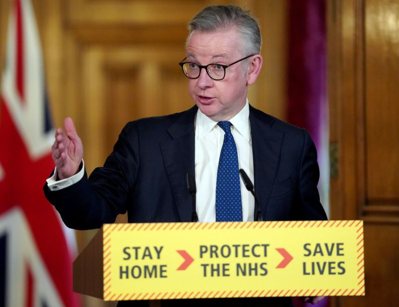 © Reuters. Britain's Chancellor of the Duchy of Lancaster Michael Gove speaks at a digital news conference on the coronavirus disease (COVID-19) outbreak, at 10 Downing Street in London