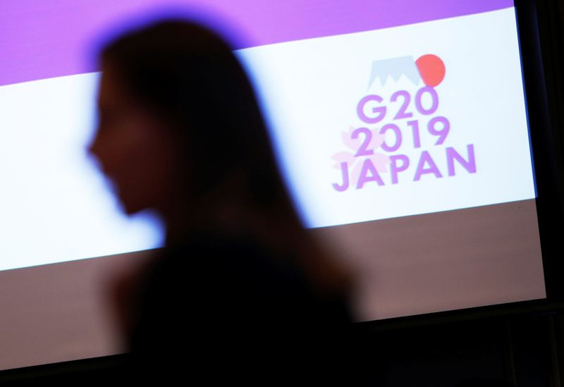 © Reuters. The logo of G20 Summit and Ministerial Meetings is displayed at the G20 Finance and Central Bank Deputies Meeting in Tokyo