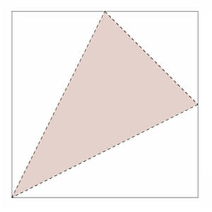 The dotted line goes from the bottom left corner to the mid-points of the two opposite sides.