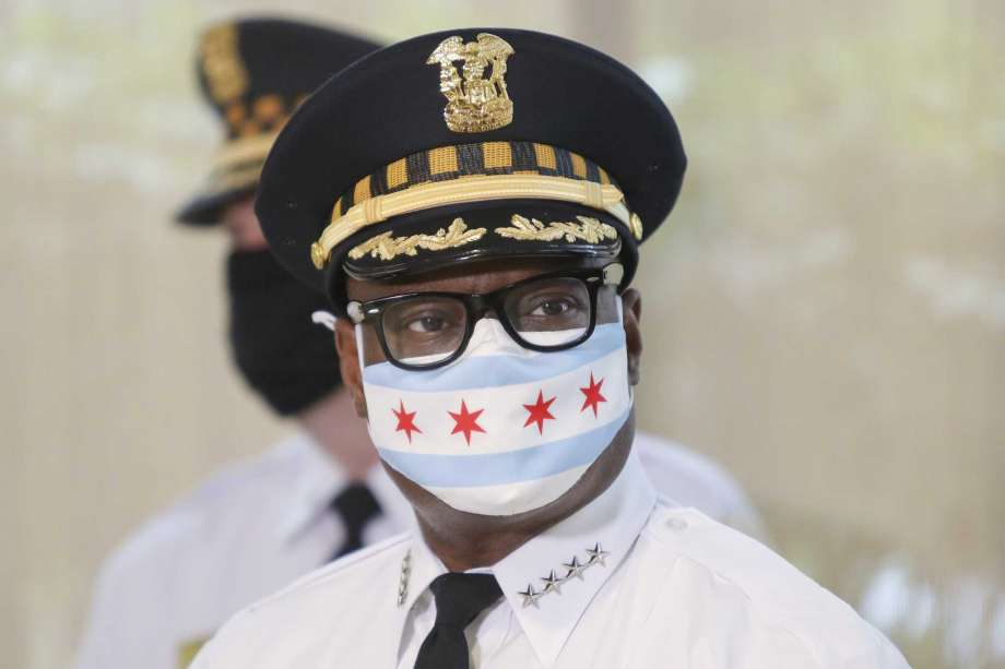 Chicago Police Superintendent David Brown wears a face mask at a news conference on Monday, July 27, 2020 in Chicago. Police are reporting a drop in homicides and shooting incidents after the department rolled out two units designed to combat gun violence and ensure protests remain peaceful. The city reported three homicides over the weekend compared to 12 the weekend before. It was the first weekend that the 300-member Community Safety Team was dispatched to communities on the West and South sides where there has been an uptick in violent crime. Photo: Teresa Crawford, AP / Copyright 2020 The Associated Press. All rights reserved.
