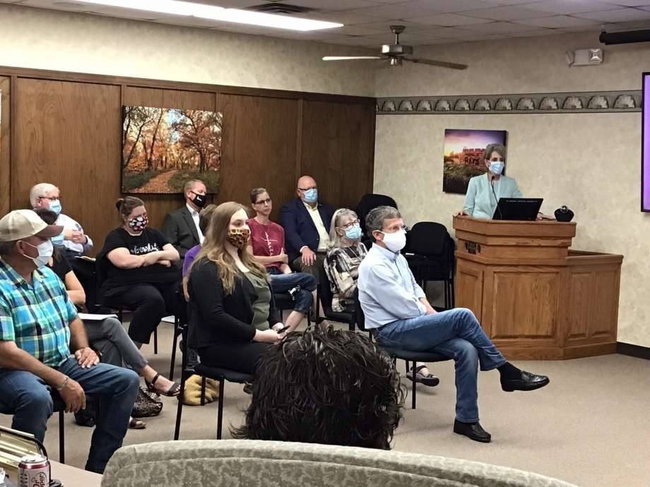 Fort Hays State University President Tisa Mason told the Hays City Commission at its regular meeting in City Hall on Thursday, July 23, 2020, in Hays, Kan., that the university will require face masks on campus when nearly 4,000 students return in August, and said a consistent message from the city would be helpful. (Margaret Allen/The Hays Daily News via AP) Photo: Margaret Allen, AP / The Hays Daily News