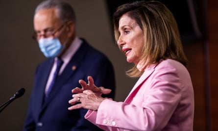 Nancy Pelosi and Chuck Schumer speak to the media in the US Capitol in Washington DC, 23 July 2020.