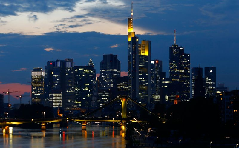 © Reuters. File photo of skyline of the banking district in Frankfurt
