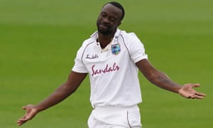 West Indies' Kemar Roach reacts after an unsuccessful appeal.