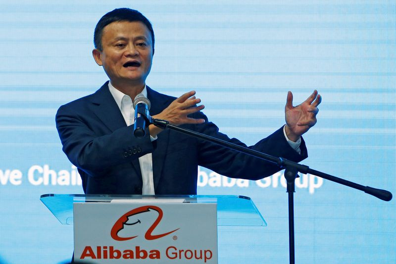 © Reuters. FILE PHOTO: Jack Ma, founder of Chinese e-commerce giant Alibaba, speaks during the launch of Alibaba's office in Kuala Lumpur