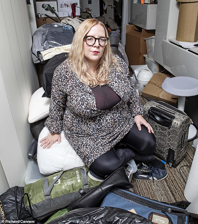 Since lockdown started, Faye Dawson (pictured) has been forced to sleep on her sofa and eat sandwiches and cold ready meals because her kitchen is out of bounds
