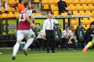 Burnley's manager, Sean Dyche, on the touchline during a game