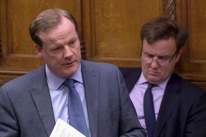 © Reuters. British Conservative MP Charlie Elphicke speaks in the Parliament in London